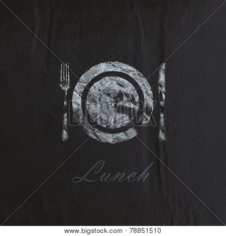 vector illustration of  engraving plate and cutlery on the black wrinkled paper texture. lunch time