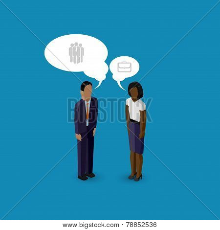 vector 3d isometric cartoon illustration of man and woman characters. business infographic or advert