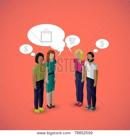 vector 3d isometric cartoon illustration of men and women characters. business infographic or advert