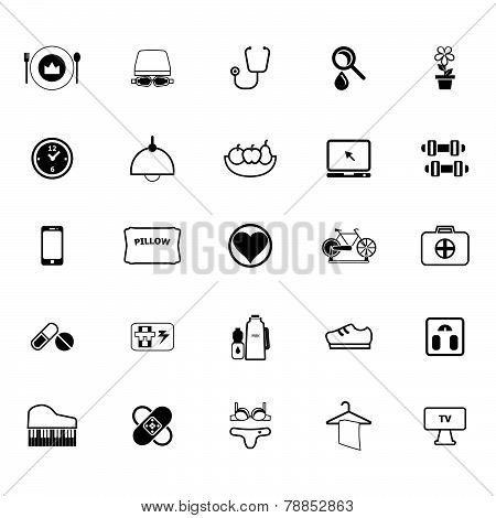 Quality Life Line Icons On White Background