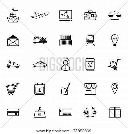 International Business Line Icons On White Background