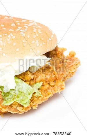 Crisp Chicken Burger With Lettuce Isolated On White.