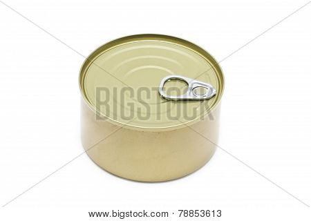 Can Of Tuna Closed Isolated On White Background.