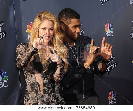LOS ANGELES - APR 03:  Shakira & Usher arrives to the 'The Voice Celebrtaes Season 5  on April 03, 2014 in Hollywood, CA