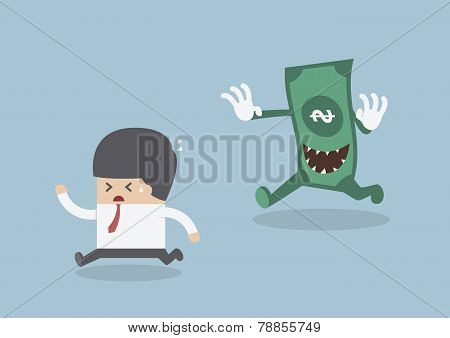 Businessman Running Away From The Money Monster