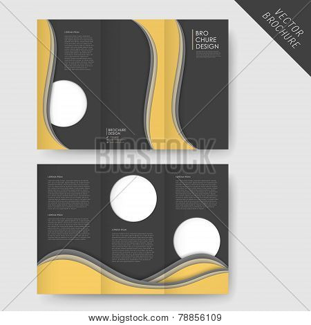 Abstract Wavy Tri-fold Brochure Template