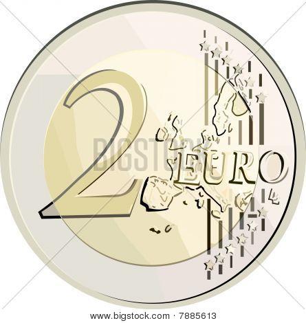 Vector 2 euro coin.