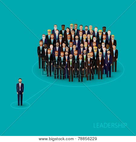 vector flat illustration of a leader and a team. a crowd of business men or politicians wearing suit