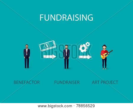 vector flat illustration of an infographic fundraising concept. a benefactor giving money for non pr
