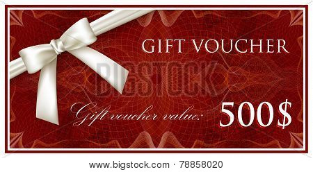 vector template design of red gift voucher or certificate with guilloche pattern, watermarks and whi