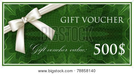 vector template design of green gift voucher or certificate with guilloche pattern, watermarks and w