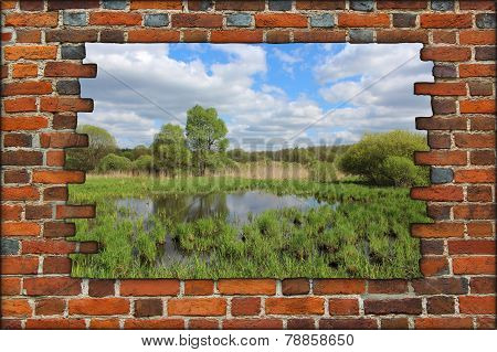 Broken Brick Wall And View To Spring Landscape