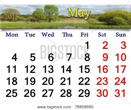 Calendar For May Of 2015 On The Background Of Spring