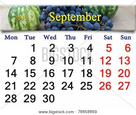Calendar For September Of 2015 With The Grapes