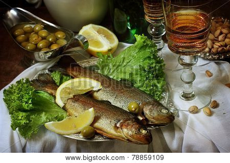 Trout With A Lemon And Muscat Wine