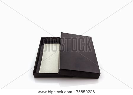 Black Paper Box On White Background .
