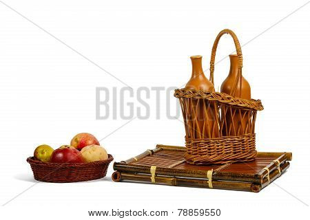 Baskets With Apples And Wine Bottles