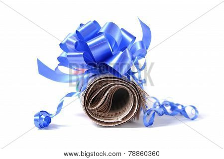 Rolled Newspaper With Decorative Bow