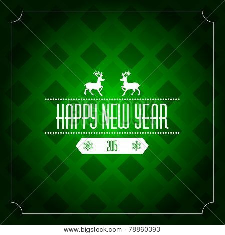 Happy new year 2015 greeting card template - green pattern