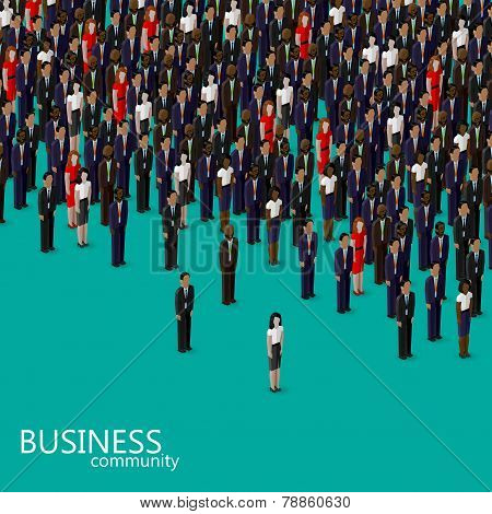 vector 3d isometric illustration of business or politics community. a crowd of men and women, busine