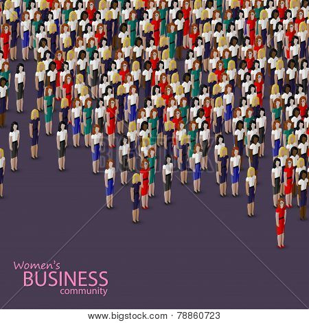 vector 3d isometric illustration of women business community. a crowd of business women or politicia