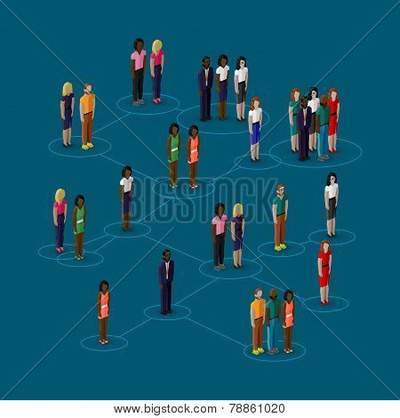 vector 3d isometric illustration of society members with  men and women. population. social network