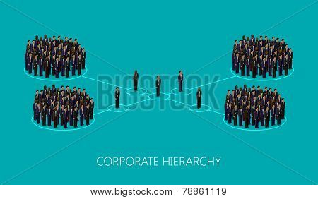 vector 3d isometric illustration of a corporate hierarchy structure. a crowd of business men or poli