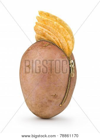 Potato chips in row potato with zipper isolated on white background, potato chips concept