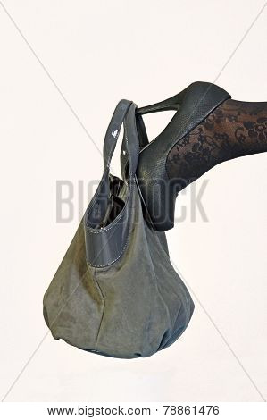 Shoes And Purse Of A Woman In Autumn Clothing