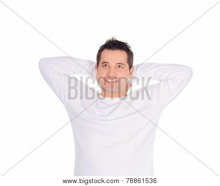 Smiling Young Man Dreaming At His Future Over White