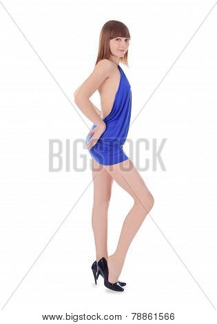 Fashion Young Blondie In Blue Dress Posing Over White