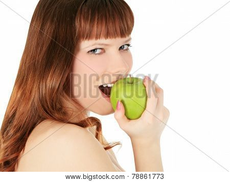 Woman Eating A Green Apple Isolated Over White Background