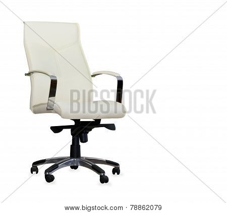 Modern Office Chair From Pearl Leather. Isolated