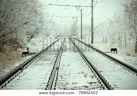 Urban Railroad At Winter Day
