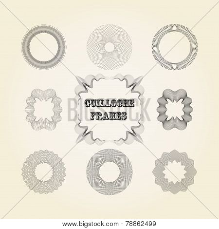 vector set of lace graceful guilloche frames for design