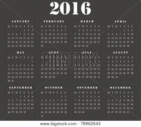 Simple European Square Calendar 2016