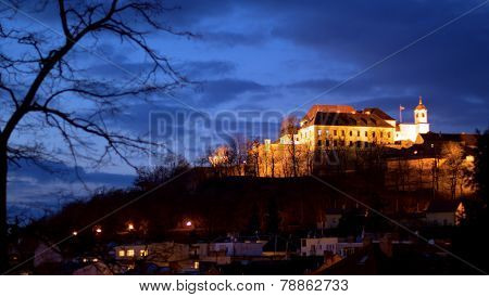Evening Spilberk Castle in Brno with a tree