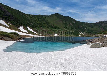 Mountains And Blue Lake On Kamchatka Peninsula