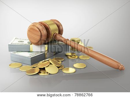 Concept Of Penalty. Wooden Cravel And Dollars With Coins.