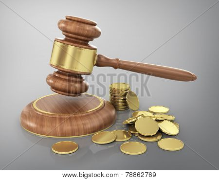 Concept Of Law. Wooden Gavel With Gold Coins.