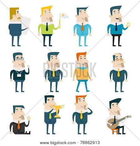 Businessman Cartoon Characters Business and Marketing Icons Set Concept Flat Design Template Vector