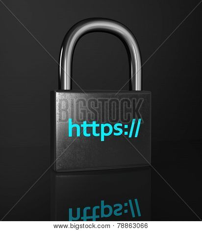 Https Padlock Isolated On The Black Background. ?oncept Of A Secure Connection.