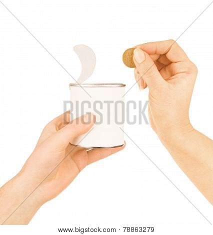 Tin Can In Hand Isolated On White Background