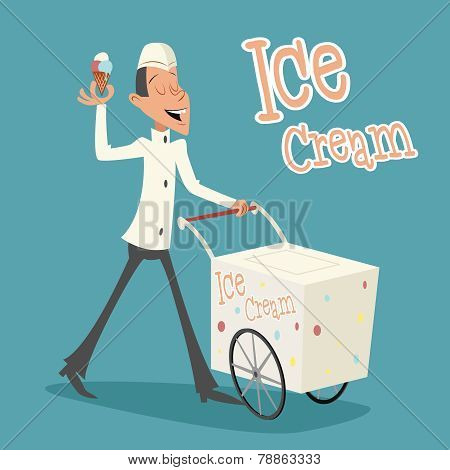 Happy Smiling Ice Cream Seller with Cart Retro Vintage Cartoon Character Icon on Stylish Background
