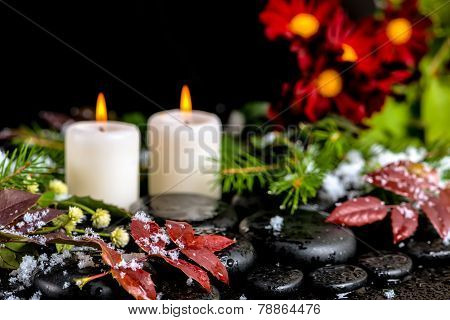 Winter Spa Still Life Of Red Leaves With Drops, Snow, Evergreen Branches, Candles And Chrysanthemum