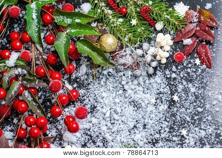 Christmas Card Of Evergreen Branches, Red Leaves, Berry With Snow And Gold Ball, Closeup