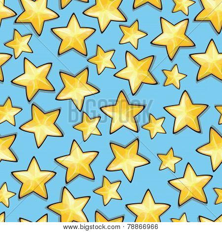 Cartoon Stars Against Blue Background. Seamless