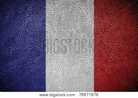France Flag on leather texture