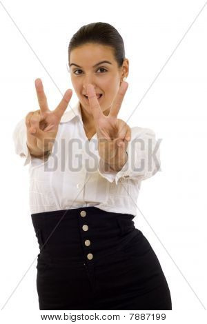 Woman Making The Victory Sign