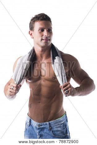 Hunky Male Model Drying Himself With A Grey Towel, Isolated